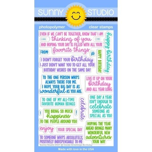 Sunny Studio INSIDE GREETINGS BIRTHDAY Clear Stamps SSCL 286 zoom image