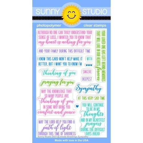 Sunny Studio INSIDE GREETINGS SYMPATHY Clear Stamps SSCL 287 zoom image