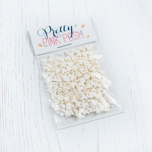 Pretty Pink Posh WHITE HEARTS Clay Sprinkles  Preview Image
