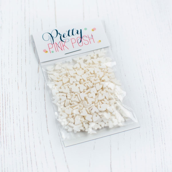 Pretty Pink Posh WHITE HEARTS Clay Sprinkles  zoom image
