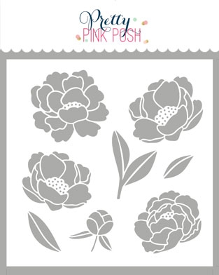 Pretty Pink Posh PEONIES Stencil  Preview Image