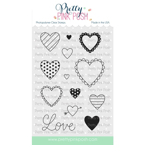Pretty Pink Posh VALENTINE'S HEARTS Clear Stamps Preview Image
