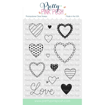 Pretty Pink Posh VALENTINE'S HEARTS Clear Stamps