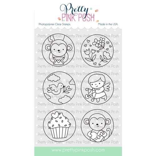 Pretty Pink Posh VALENTINE'S CIRCLES Clear Stamps Preview Image