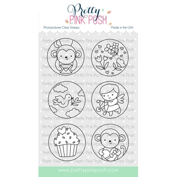 Pretty Pink Posh VALENTINE'S CIRCLES Clear Stamps