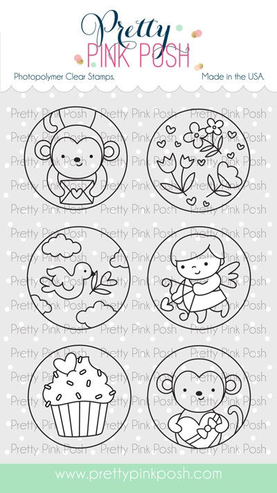 Pretty Pink Posh VALENTINE'S CIRCLES Clear Stamps zoom image