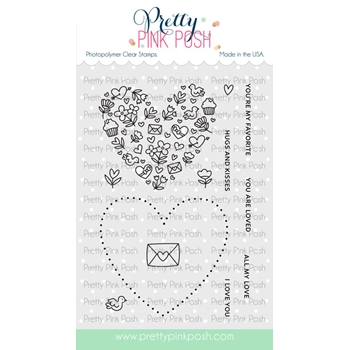 Pretty Pink Posh ALL MY LOVE Clear Stamps