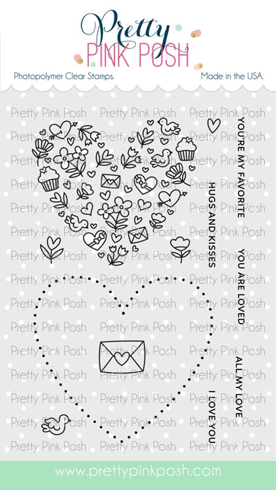 Pretty Pink Posh ALL MY LOVE Clear Stamps zoom image