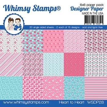 Whimsy Stamps HEART TO HEART 6 x 6 Paper Pads WSDP28