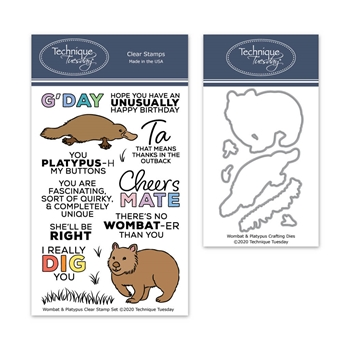Technique Tuesday WOMBAT AND PLATYPUS Clear Stamps and Dies 8759*