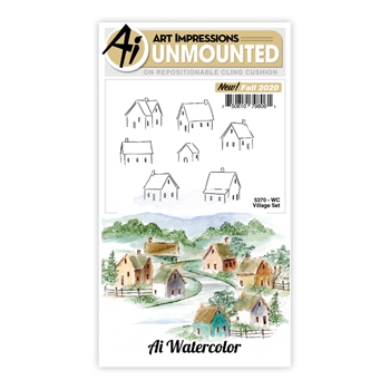 Art Impressions Watercolor VILLAGE SET Cling Cushion Stamps 5370