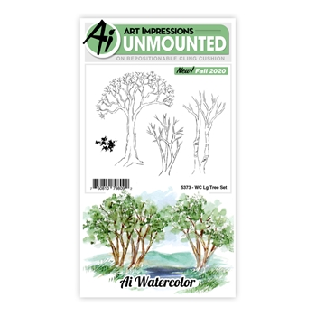 Art Impressions Watercolor LARGE TREE SET Cling Cushion Stamps 5373