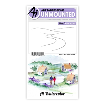 Art Impressions Watercolor BASIC SCENE Clear Stamps 5376