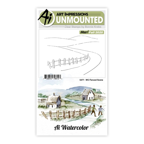 Art Impressions Watercolor FENCED SCENE Clear Stamps 5377 Preview Image