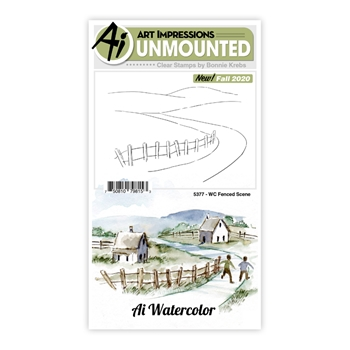 Art Impressions Watercolor FENCED SCENE Clear Stamps 5377