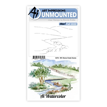 Art Impressions Watercolor STONE CREEK SCENE Clear Stamps 5378