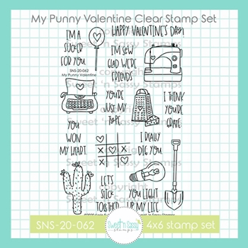 Sweet 'N Sassy MY PUNNY VALENTINE Clear Stamp Set sns20062