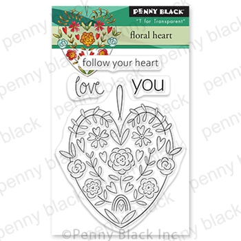 Penny Black Clear Stamps FLORAL HEART 30 790