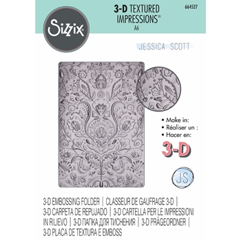 Sizzix Textured Impressions FOLK DOODLE 3D Embossing Folder 664527