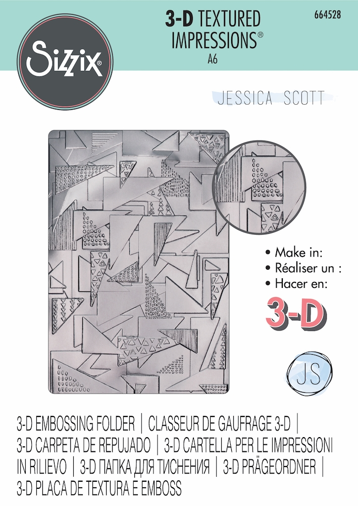 Sizzix Textured Impressions DOODLE TRIANGLES 3D Embossing Folder 664528 zoom image