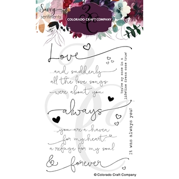 Colorado Craft Company Savvy Sentiments ALWAYS AND FOREVER Clear Stamps SS367