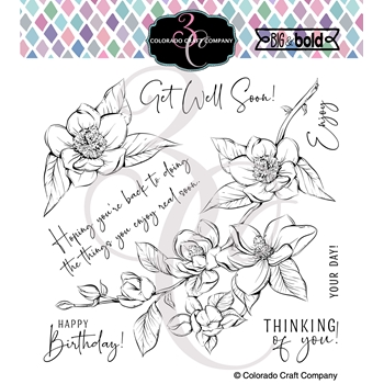 Colorado Craft Company Big and Bold THINKING OF YOU MAGNOLIAS Clear Stamps BB403