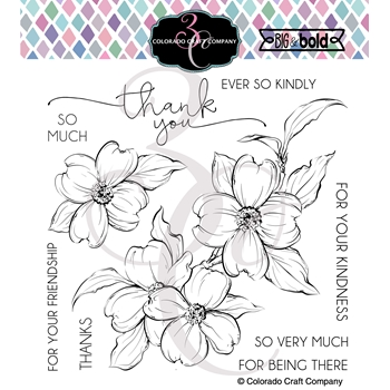 Colorado Craft Company Big and Bold THANK YOU DOGWOOD Clear Stamps BB402