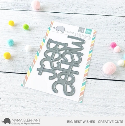 Mama Elephant BIG BEST WISHES Creative Cuts Steel Dies Preview Image
