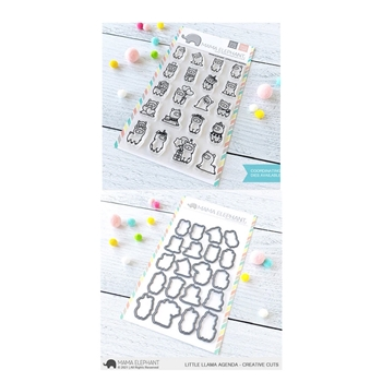Mama Elephant Clear Stamp and Die MEPT890 Little Llama Agenda SET