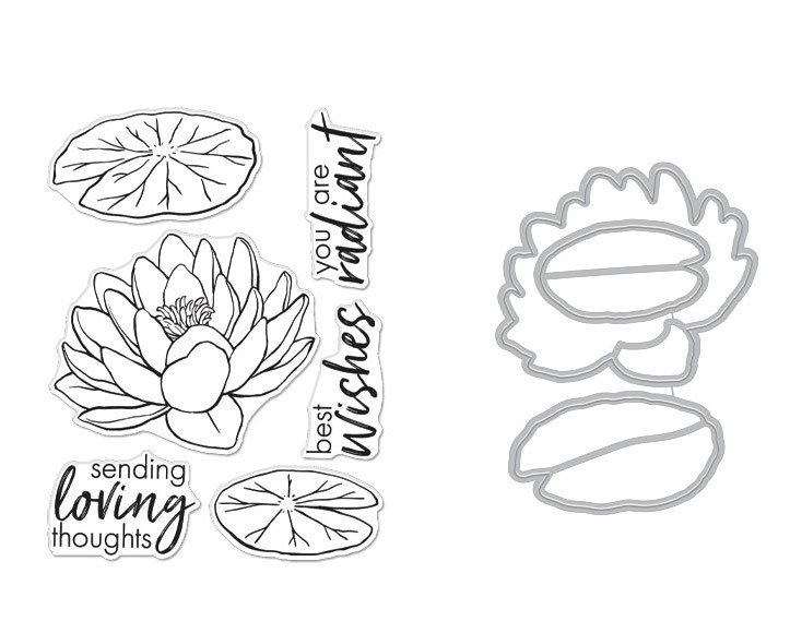 Hero Arts FLORALS LOTUS Clear Stamp and Die Combo SB271 zoom image