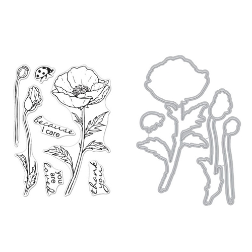 Hero Arts FLORALS POPPY Clear Stamp and Die Combo SB270 Preview Image