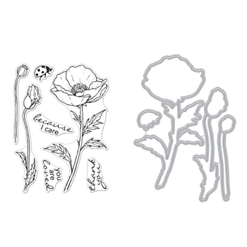 Hero Arts FLORALS POPPY Clear Stamp and Die Combo SB270