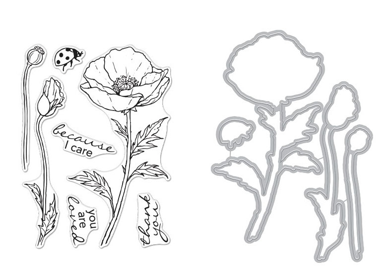 Hero Arts FLORALS POPPY Clear Stamp and Die Combo SB270 zoom image