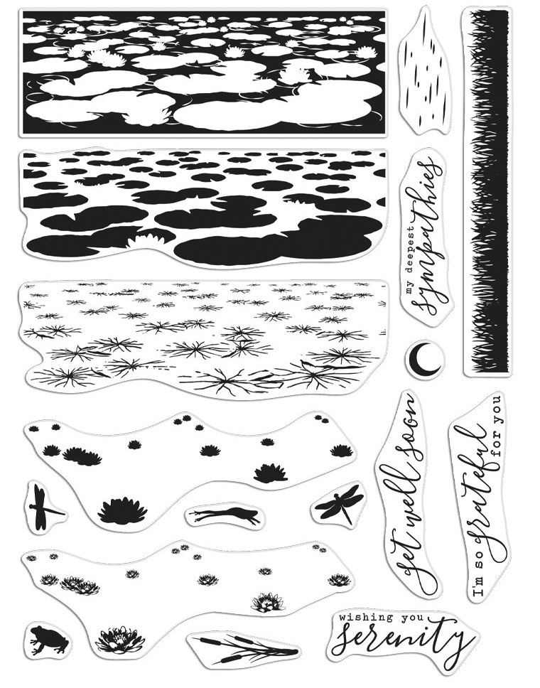 Hero Arts Clear Stamps LILY POND HEROSCAPE CM499 zoom image