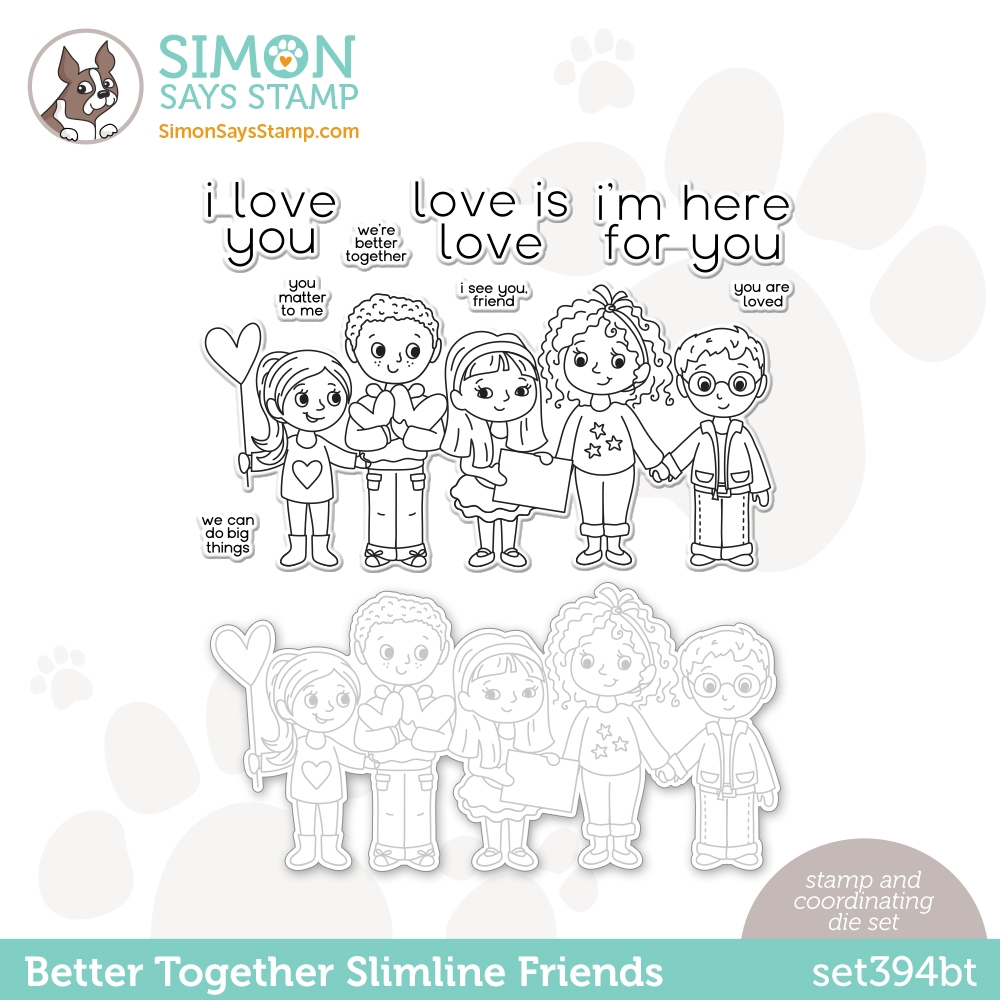 Simon Says Stamps and Dies BETTER TOGETHER SLIMLINE FRIENDS set394bt Love You Too * zoom image