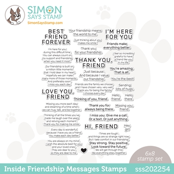 Simon Says Clear Stamps INSIDE FRIENDSHIP MESSAGES sss202254 Love You Too