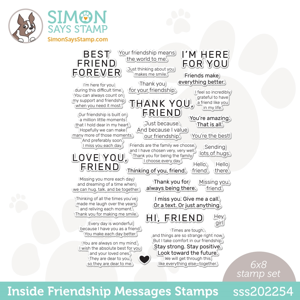 Simon Says Clear Stamps INSIDE FRIENDSHIP MESSAGES sss202254 Love You Too zoom image