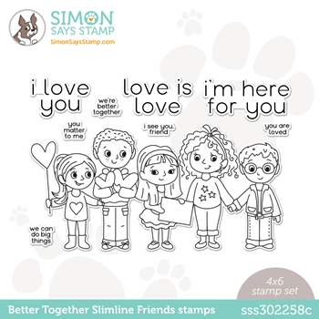 Simon Says Clear Stamps BETTER TOGETHER SLIMLINE FRIENDS sss302258c Love You Too