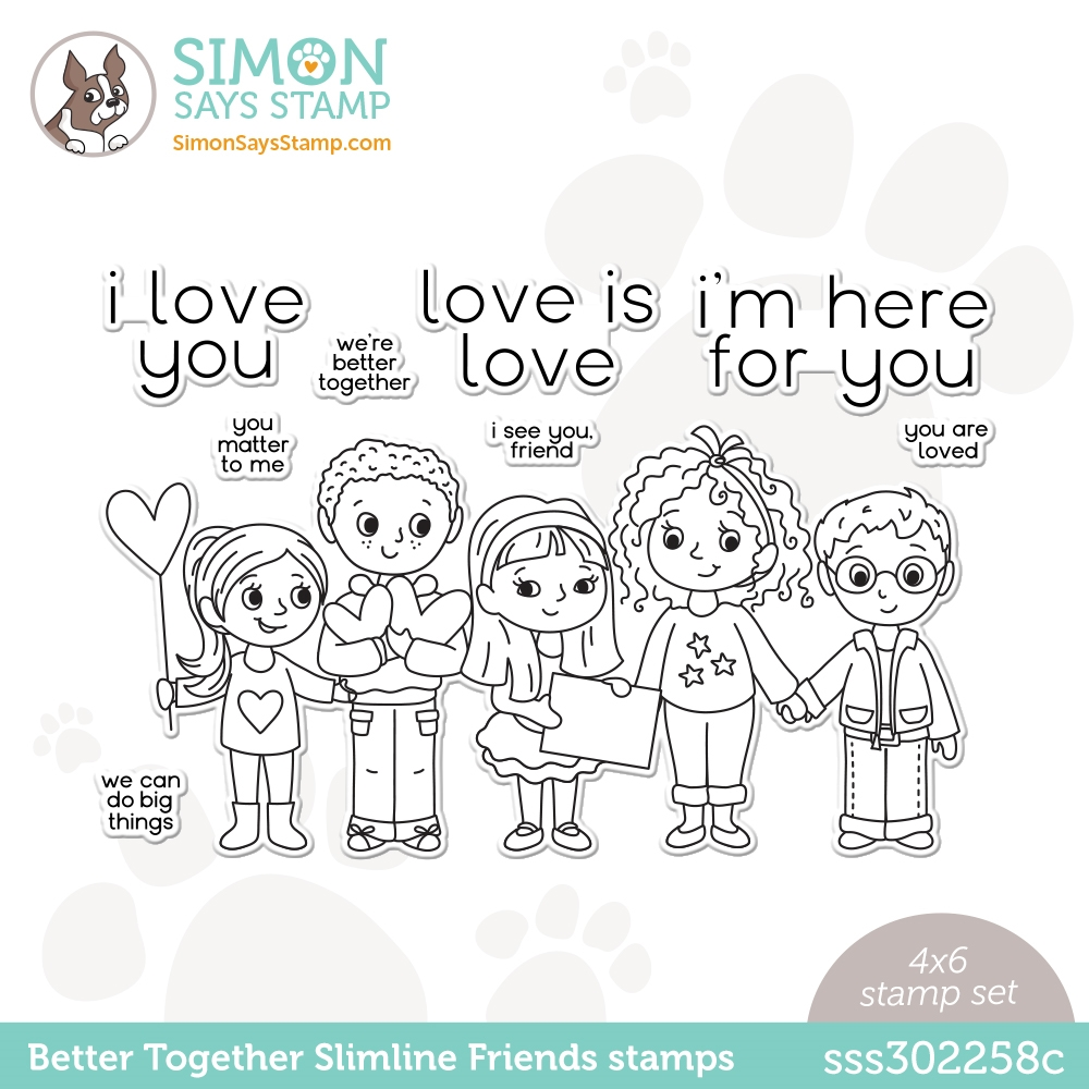 Simon Says Clear Stamps BETTER TOGETHER SLIMLINE FRIENDS sss302258c Love You Too zoom image