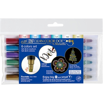 Zig Clean Color DOT METALLIC 6 Color Set Kuretake TC810046V