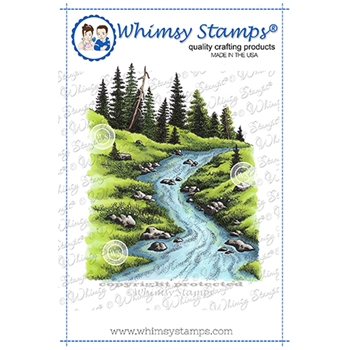 Whimsy Stamps FOREST STREAM Cling Stamp DA1154