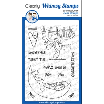 Whimsy Stamps BEARLY HANGING ON Clear Stamps CWSD359