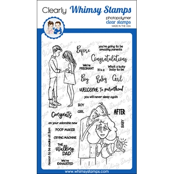 Whimsy Stamps BEFORE AND AFTER Clear Stamps CWSD358