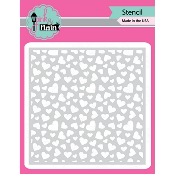 Pink and Main SCATTERED HEARTS Stencil PMS046