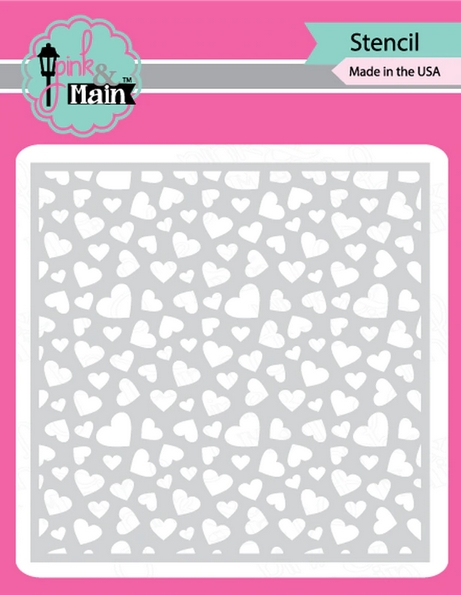 Pink and Main SCATTERED HEARTS Stencil PMS046 zoom image