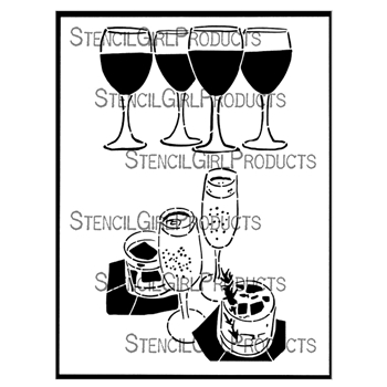 StencilGirl LADIES NIGHT AND RITZY DRINKS 9x12 Stencil l835