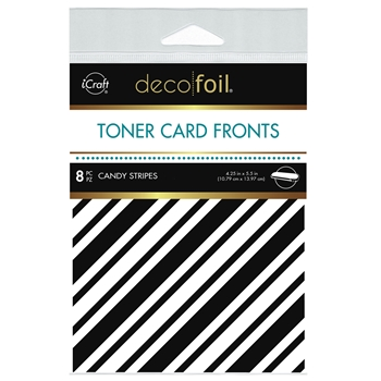 Therm O Web Deco Foil WHITE CANDY STRIPES Toner Card Fronts 5578