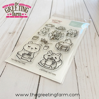 The Greeting Farm CAFFEINE CRITTERS Clear Stamps tgf575