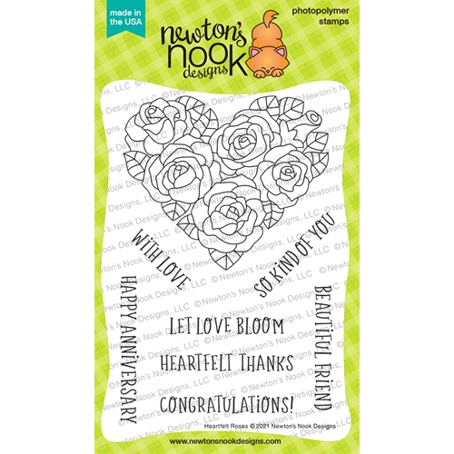 Newton's Nook Designs HEARTFELT ROSES Clear Stamps NN2101S06 Preview Image
