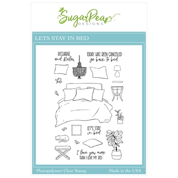 SugarPea Designs LET'S STAY IN BED Clear Stamp Set spd00506